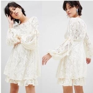 NWT Free People Rubi lace gypsy mini dress